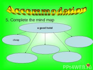 5. Complete the mind map 5. Complete the mind map