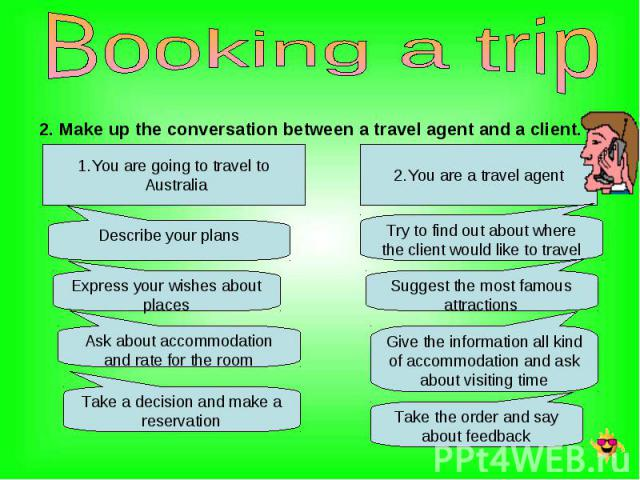 2. Make up the conversation between a travel agent and a client. 2. Make up the conversation between a travel agent and a client.