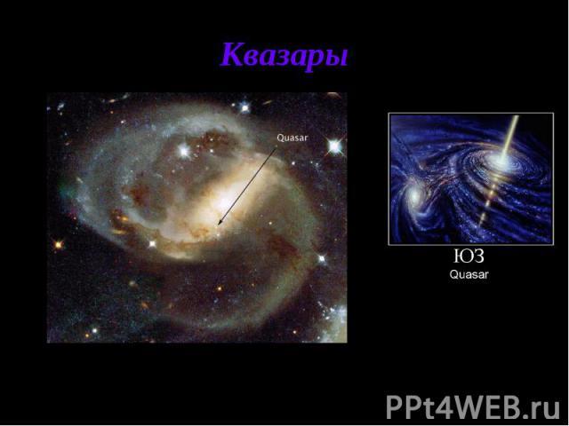 Квазары Квазары - класс наиболее удивительных и загадочных астрономических объектов; по-видимому, это самые мощные источники энергии во Вселенной. С момента их открытия в 1960 обнаружено более 5000 квазаров, но еще миллионы квазаров в принципе досту…