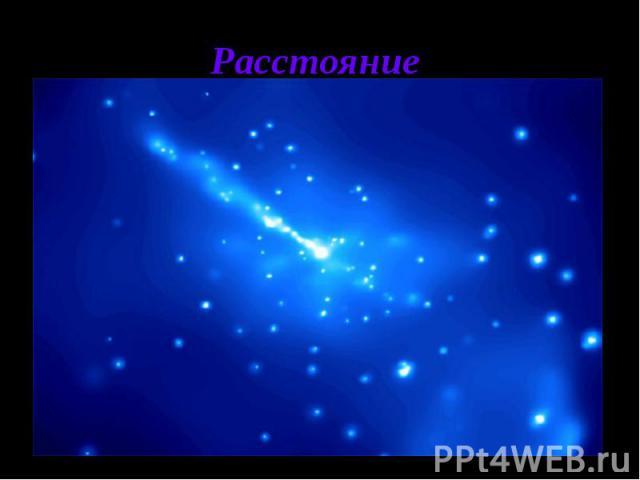 Расстояние Если считать, что большая скорость удаления квазаров связана с общим космологическим расширением Вселенной, а в этом сейчас практически никто не сомневается, то, согласно закону Хаббла, они находятся на огромном расстоянии от нашей Галакт…