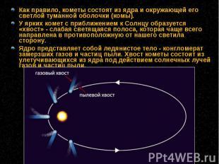 Как правило, кометы состоят из ядраи окружающей его светлой туманной оболо