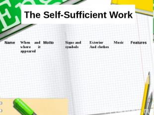 The Self-Sufficient Work