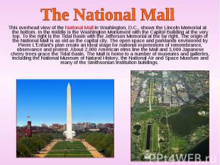 This overhead view of the National Mall in Washington, D.C., shows the Lincoln M