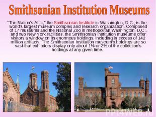 """The Nation's Attic,"" the Smithsonian Institute in Washington, D.C., i"