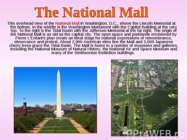 This overhead view of the National Mall in Washington, D.C., shows the Lincoln Memorial at the bottom. In the middle is the Washington Monument with the Capitol Building at the very top. To the right is the Tidal Basin with the Jefferson Memorial at…