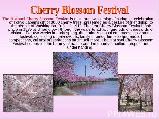 The National Cherry Blossom Festival is an annual welcoming of spring, in celebration of Tokyo Japan's gift of 3000 cherry trees, presented as a gesture of friendship, to the people of Washington, D.C., in 1912. The first Cherry Blossom Festival too…
