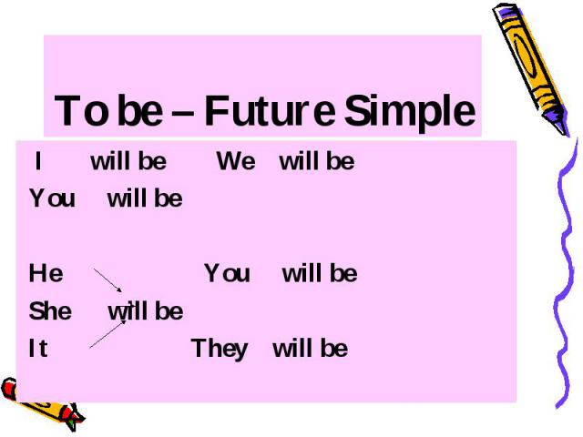 To be – Future Simple I will be We will be You will be He You will be She will be It They will be