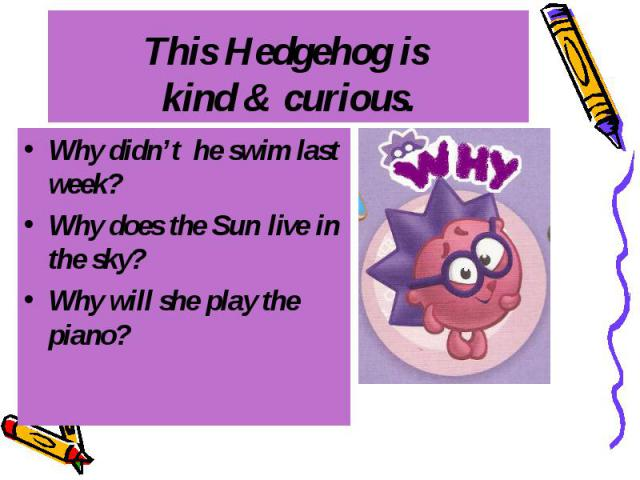 This Hedgehog is kind & curious. Why didn't he swim last week? Why does the Sun live in the sky? Why will she play the piano?