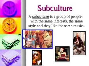 A subculture is a group of people with the same interests, the same style and th