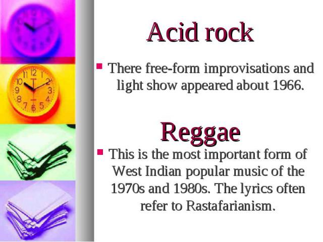 This is the most important form of West Indian popular music of the 1970s and 1980s. The lyrics often refer to Rastafarianism. This is the most important form of West Indian popular music of the 1970s and 1980s. The lyrics often refer to Rastafarianism.