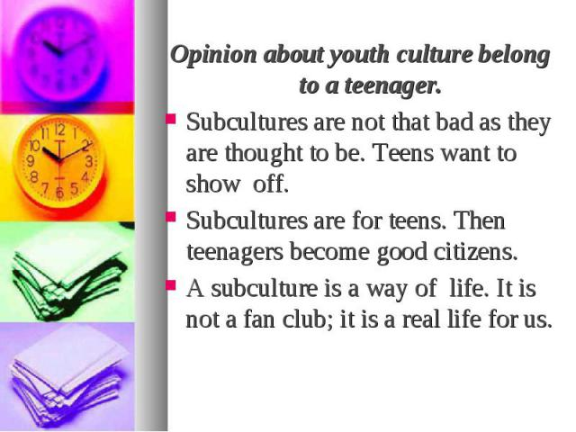 Opinion about youth culture belong to a teenager. Opinion about youth culture belong to a teenager. Subcultures are not that bad as they are thought to be. Teens want to show off. Subcultures are for teens. Then teenagers become good citizens. A sub…