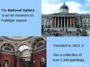 The National Gallery The National Gallery is an art museum on Trafalgar square.