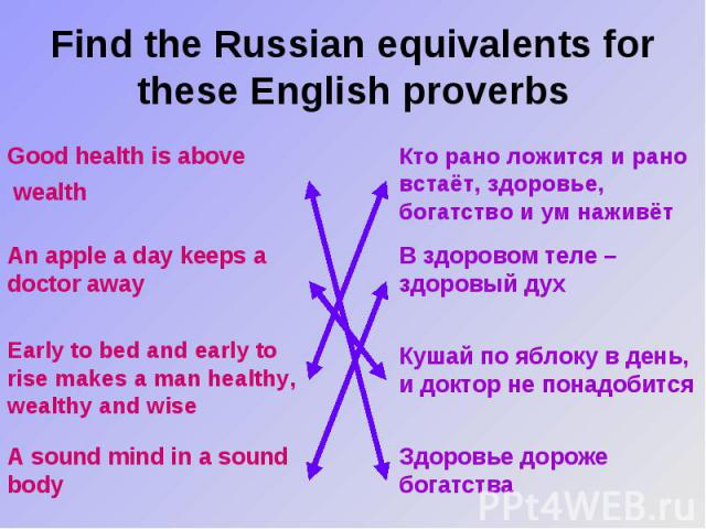 Find the Russian equivalents for these English proverbs Good health is above wealth