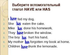I … fed my dog. I … fed my dog. She … eaten the cake. Mike … done his homework.