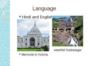 Language Hindi and English waterfall Dudxasagar Memorial to Victoria