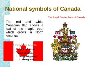 National symbols of Canada The red and white Canadian flag shows a leaf of the m