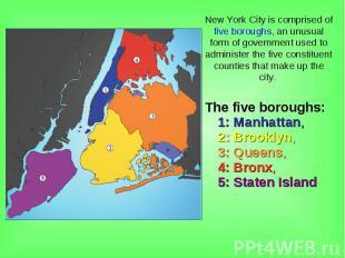 The five boroughs: 1:Manhattan, 2:Brooklyn, 3:Queens, 4: