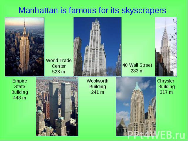 Manhattan is famous for its skyscrapers Manhattan is famous for its skyscrapers