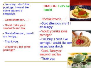 DIALOG: Let's have lunch!