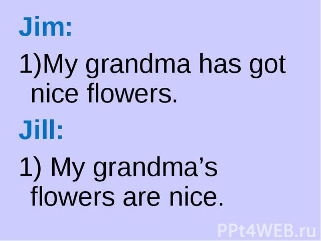 Jim: Jim: My grandma has got nice flowers. Jill: 1) My grandma's flowers are nice.