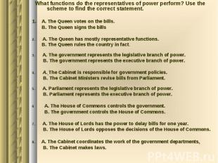 What functions do the representatives of power perform? Use the scheme to find t