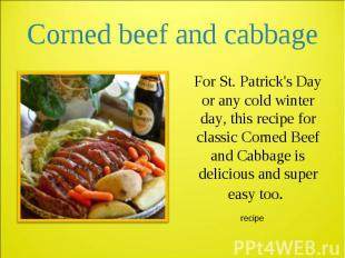 For St. Patrick's Day or any cold winter day, this recipe for classic Corned Bee