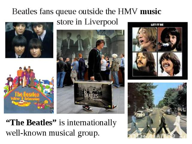 Beatles fans queue outside the HMV music store in Liverpool
