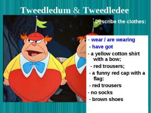 Tweedledum & Tweedledee - wear / are wearing - have got - a yellow cotton sh