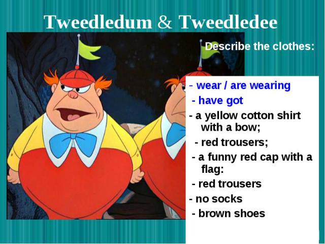 Tweedledum & Tweedledee - wear / are wearing - have got - a yellow cotton shirt with a bow; - red trousers; - a funny red cap with a flag: - red trousers - no socks - brown shoes