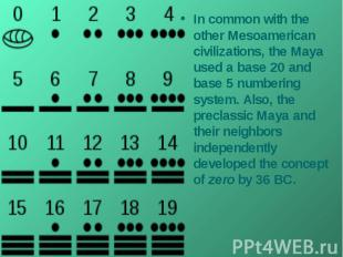 In common with the other Mesoamerican civilizations, the Maya used a base 20 and