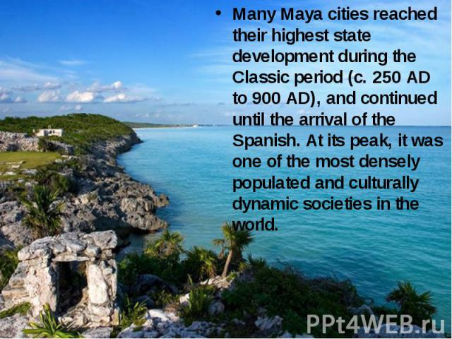 Many Maya cities reached their highest state development during the Classic period (c. 250 AD to 900 AD), and continued until the arrival of the Spanish. At its peak, it was one of the most densely populated and culturally dynamic societies in the world.