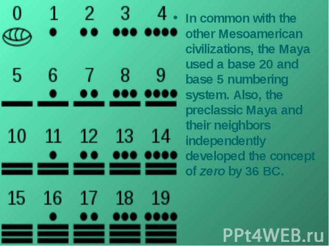 In common with the other Mesoamerican civilizations, the Maya used a base 20 and base 5 numbering system. Also, the preclassic Maya and their neighbors independently developed the concept of zero by 36 BC.