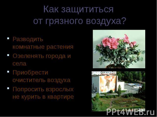 Разводить комнатные растения Разводить комнатные растения Озеленять города и села Приобрести очиститель воздуха Попросить взрослых не курить в квартире
