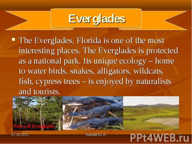 The Everglades, Florida is one of the most interesting places. The Everglades is protected as a national park. Its unique ecology – home to water birds, snakes, alligators, wildcats, fish, cypress trees – is enjoyed by naturalists and tourists. The …