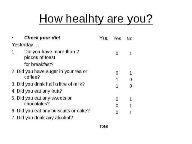 How healhty are you? Check your diet Yesterday … Did you have more than 2 pieces of toast for breakfast? 2. Did you have sugar in your tea or coffee? 3. Did you drink half a litre of milk? 4. Did you eat any fruit? 5. Did you eat any sweets or choco…