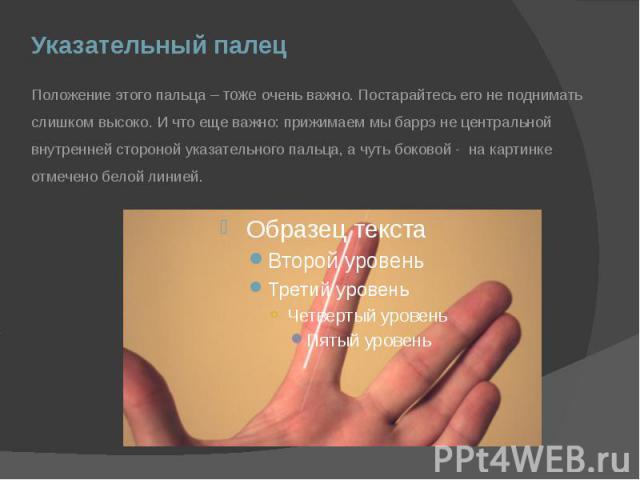 Указательный палец Положение этого пальца – тоже очень важно. Постарайтесь его не поднимать слишком высоко. И что еще важно: прижимаем мы баррэ не центральной внутренней стороной указательного пальца, а чуть боковой - на картинке отмечено белой линией.
