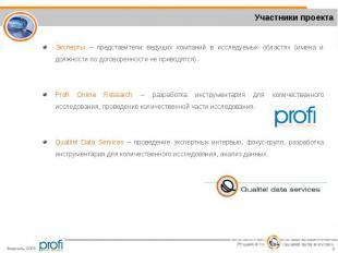 Эксперты – представители ведущих компаний в исследуемых областях (имена и должно