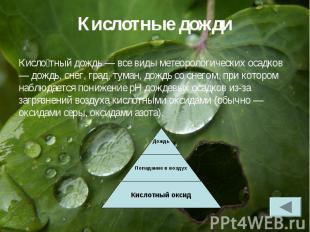 Кисло тный дождь — все виды метеорологических осадков — дождь, снег, град, туман
