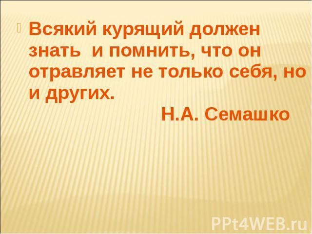Всякий курящий должен знать и помнить, что он отравляет не только себя, но и других. Н.А. Семашко Всякий курящий должен знать и помнить, что он отравляет не только себя, но и других. Н.А. Семашко