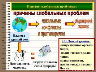 Понятие «глобальные проблемы».