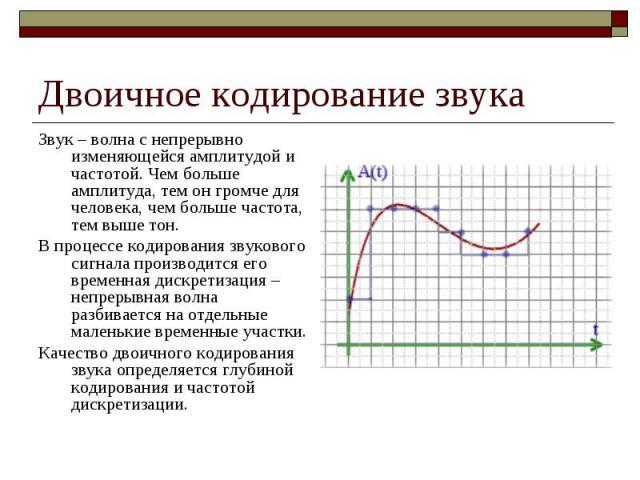 Двоичное кодирование звука Звук – волна с непрерывно изменяющейся амплитудой и частотой. Чем больше амплитуда, тем он громче для человека, чем больше частота, тем выше тон. В процессе кодирования звукового сигнала производится его временная дискрети…