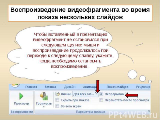 Воспроизведение видеофрагмента во время показа нескольких слайдов