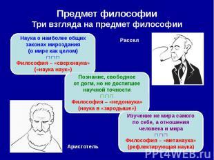 Предмет философии Три взгляда на предмет философии