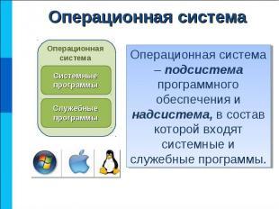 Операционная система – подсистема программного обеспечения и надсистема, в соста