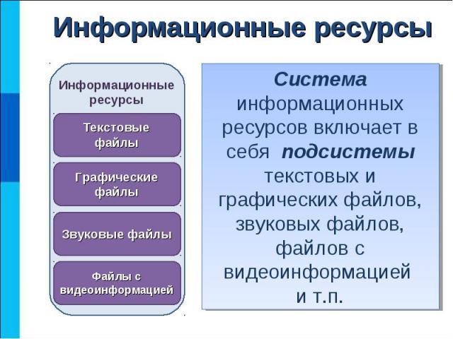 Система информационных ресурсов включает в себя подсистемы текстовых и графических файлов, звуковых файлов, файлов с видеоинформацией и т.п.