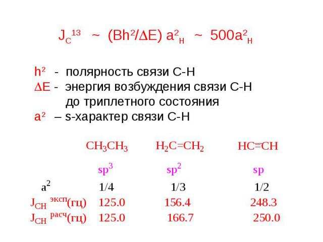 h2 - полярность связи С-Н DE - энергия возбуждения связи С-Н до триплетного состояния а2 – s-характер связи С-Н