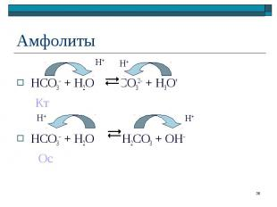 HCO3– + H2O CO32– + H3O+ Кт HCO3– + H2O H2CO3 + OH– Ос