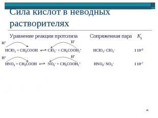 Уравнение реакции протолиза Сопряженная пара KК Уравнение реакции протолиза Сопр