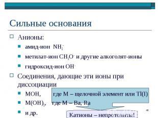 Анионы: Анионы: амид-ион NH2– метилат-ион CH3O– и другие алкоголят-ионы гидрокси