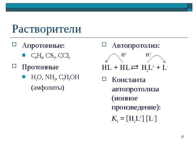 Апротонные: Апротонные: C6H6, CS2, CCl4 Протонные H2O, NH3, C2H5OH (амфолиты)